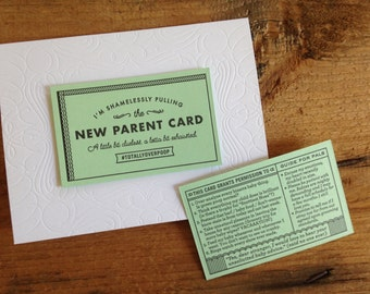 Letterpress New Parent Baby CardWith Removable Excuse Card