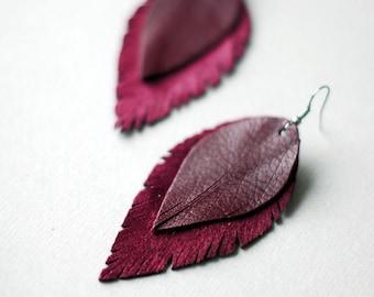 Long Leather Earrings- Leather Earrings- Dangle Earrings- Recycled Earrings- Boho Chic Earrings- Feather Earrings- Purple Earrings