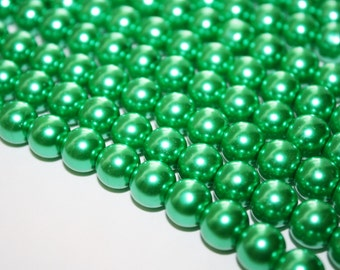 Kelly Green Glass Pearl Beads - 12mm - 35ct