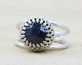MOTHER'S DAY SALE - Goldstone ring,silver ring,silver stone ring,navy blue ring,blue ring,sterling silver ring,promise ring