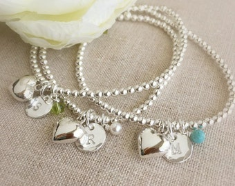 Initial Bracelet . Sterling Silver Birthstone Bracelet . Charm Bracelet . Birthstone Bracelet . Personalized Bracelet.Initial Bracelet