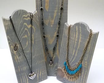 Set of 3 Necklace Stands Rustic Wood Necklace Display Distressed Grey Finish Reclaimed Wood Take Down Design for Craft Shows or Home