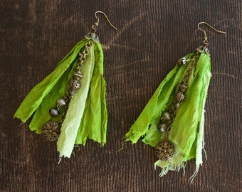 Two Tone Green Sari Silk and Upcycled Silk Earrings with Dangle