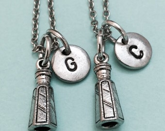 Best friend necklace, salt shaker necklace, condiment necklace, bff necklace, sister, friendship jewelry, personalize, initial, monogram