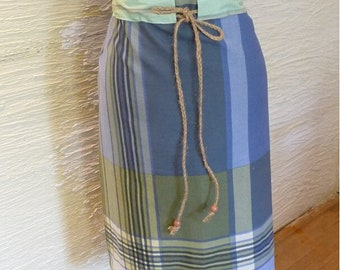 Handmade Skirt, Unique Clothing, Recycled Fabric, Vintage Fabric, Multi Size Skirt, Blue Green Skirt, Adjustable Drawstring, Wooden Beads