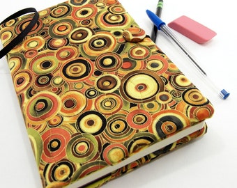 Journal Cover, Quilted Diary - Circles in Rich Golden Yellow, Olive Green, and Orange Autumn Tones Reusable Writing Journal Cover