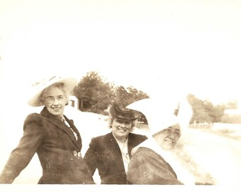 """Vintage Snapshot """"Sister's Sisters"""" Flying Nun Poses With Women Relatives Old Photo Headpiece Cornette Wimple Found Vernacular Photo"""