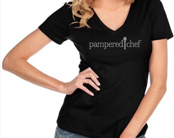Women's Pampered Chef Custom Bedazzled Rhinestone Shirt | Womens Pampered Chef Bling Shirt | Pampered Chef Shirt