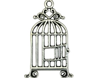 8 Silver Bird Cage Charm Pendant 34x21mm by TIJC SP1374
