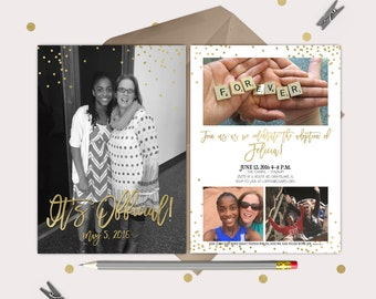 Adoption Party Invitation and Announcement - Gold and White Double Sided Card