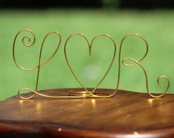 Any COLOR Wire Initials Cake Topper - Decoration - Beach wedding - Bridal Shower - Bride and Groom - Rustic Country Chic Wedding