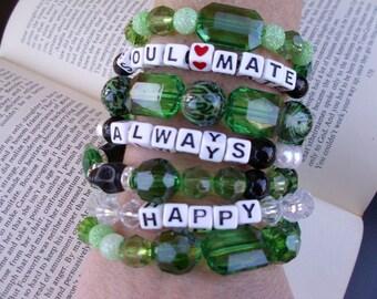 Emerald green boho gypsy stackable stretch bracelet set