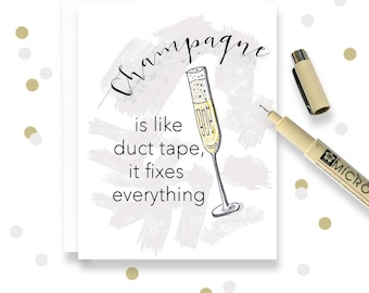 Cheer Up Champagne Card - Funny Break Up  - Champagne Card - Best Friend Sympathy