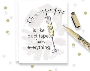 Greeting Card Handmade - Champagne - Card Handmade - Sympathy, Birthday