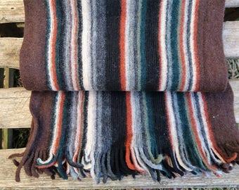 Striped men winter scarf, long scarf, wool men scarf, men neck warmer, brown black scarf, knitted scarf, fringes scarf,  vintage knit scarf