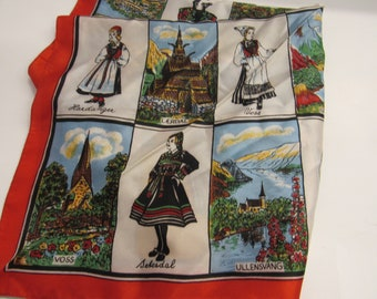Vintage Norweigan Mulit Color Silk Scarf