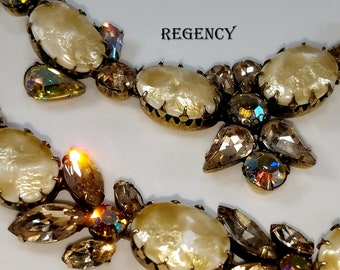 REGENCY signed Parure: Necklace, Bracelet, and Earrings - Baroque Faux Pearls w/ Amber Citrine Marquise Rhinestones Aurora Borealis Chatons