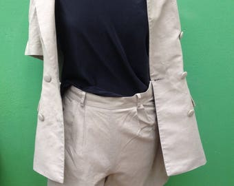 Made in Italy   Linen Set   Short & Jacket   90s Vintage   Top and Vintage Shorts   Small Set   90s Fashion   High waist