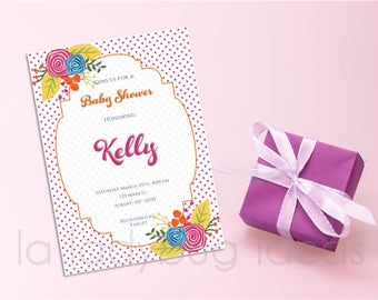 Baby shower invitation for girl, printable, Floral printable baby shower invitation, modern style. Digital invitation for girl baby shower..