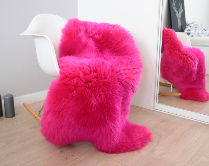 Genuine Natural Amarant Pink Sheepskin Rug Sheepskin Throw  Scandinavian Style | Scandinavian Rug | Pink Sheepskin