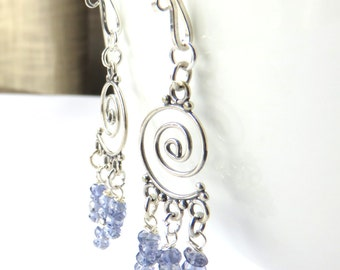 Iolite Chandelier Earrings, Blue and Silver, Dainty Iolite Jewelry, Delicate Gemstones, Sterling Silver, Long Iolite Fashion Earrings
