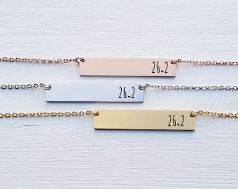 Gift for Runner Full Marathon 26.2 Miles Bar Necklace Runner Necklace Personalized Necklace Rose Gold Silver Gift for Her Gift for Friend