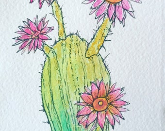 Easter Lily Cactus Mixed Media Watercolor Painting 4x6