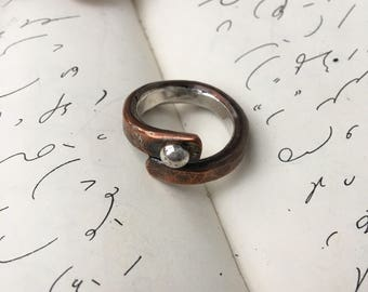 Copper Wrap Ring with Sterling Silver Lining