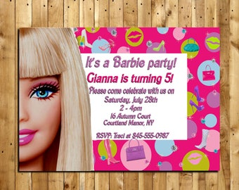 Custom Barbie Birthday Invitation - Digital Delivery - Size 4x6 or 5x7