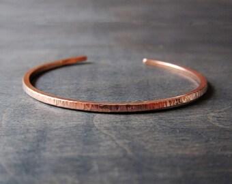Shiny Copper Cuff Bracelet, Ripple Hammered Copper Cuff Bracelet, Skinny Copper Bracelet