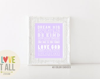 DREAM BIG Be Kind Nursery Subway Wall Art Print . 11x14 Kid Teen Playroom Poster . Gift . House and Family Rules Manifesto Roll Scroll