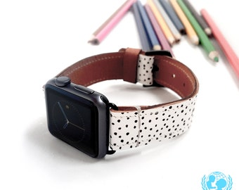 Dalmatian Apple Watch Band 38mm, 42mm//Handmade Apple Watch Strap iWatch Band iWatch Strap Wearable Tech Christmas Gift For Her/Him