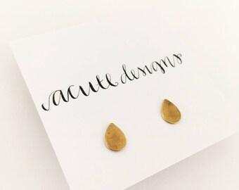 Raindrop Stud Earrings, Gold Brass, Posts, Simple, Minimalist, pear shaped, ethical, gift under 20, drop, raindrop, teardrop, water