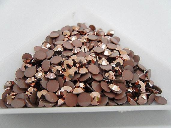 Metallic Copper Brown Flat Back Round Resin Rhinestones Embellishment Gems C58