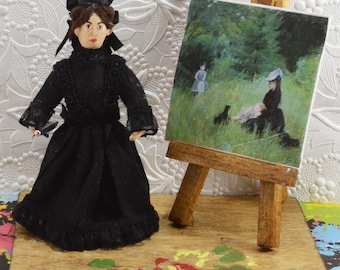 Berthe Marisot French Impressionist Painter Diorama Miniature Artist Doll