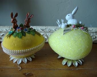 Vintage style Easter egg assemblage home table decor vintage velvet egg decoration and glitter eggs