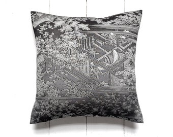 Japanese Vintage Kimono Pillow Cushion in charcoal grey and dove grey 'Chinoiserie'