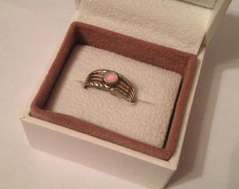 Vintage Solid Sterling Silver Ridged Bezel Set Round Natural Australian Fire Opal Gemstone Ring Size UK K - US 5.5