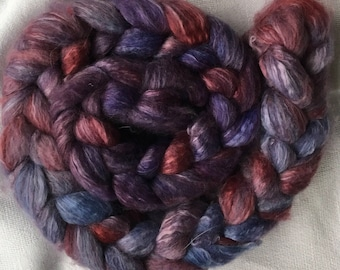 Hand dyed blue face Leicester combed with milk silk