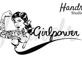 50's style SVG file package,(Girl Power Quote)
