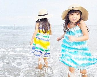 Blue & White Linen Girl Dress, Girls Halter Dress, Girl Beachwear, Blue Sky Dress, Flower Girl Dress, Holiday Girl Dress Size 1T 2T 3T 4T 5T