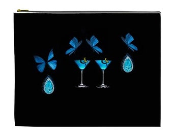 Jewelry travel pouch, Black and blue butterfly pouch, Large cosmetic makeup bag with jewels and butterflies, Cosmetic Makeup pouch