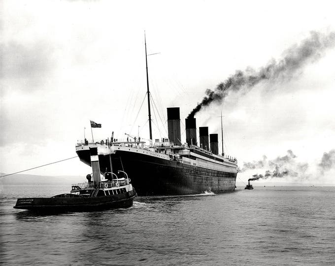 RMS Titanic Leaves Belfast for Sea Trials on April 2, 1912 - 5X7, 8X10 or 11X14 Photo (OP-008)