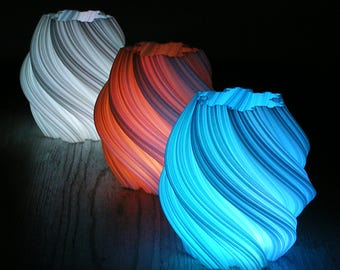 Spiral Luminary Set of 3 Bathroom Lighting Accents Fractal Art 3d Printed Led Luminary Led Lamp Bathroom Decor Modern Gift