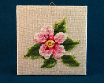 Blossom Flower Canvas Handmade Embroidery Wall Hanging Picture