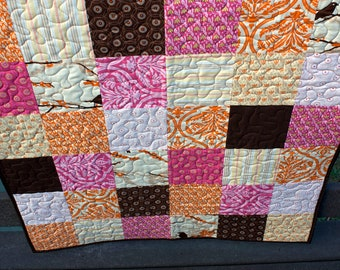 baby girl quilt or wall hanging in pink and brown // patchwork crib quilt in aviary fabrics // READY TO SHIP