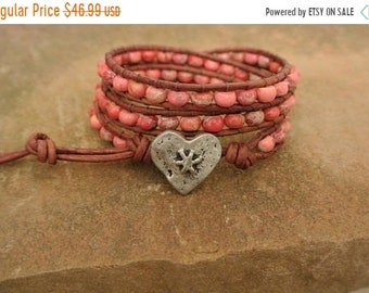 SALE 50% OFF Be Mine Red Jasper Beaded Leather Wrap Bracelet