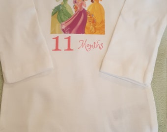 Princess themed monthly onesies, Princess Month By Month Princess themed onesies