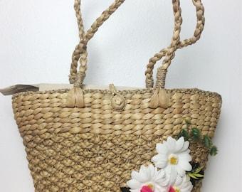 Straw Summer Bag/ 80s Straw Floral Bag/ Straw Purse