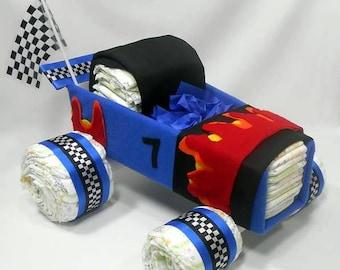 Race Car - Diaper Cake - Car Diaper Cake - Baby Shower Centerpiece - Baby Gift - Baby Shower Gift - Race Car Fan -